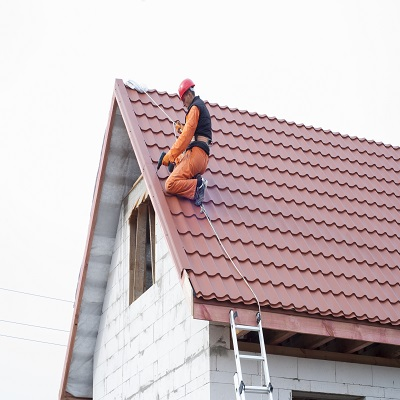 A Tile Roof Repair in Progress